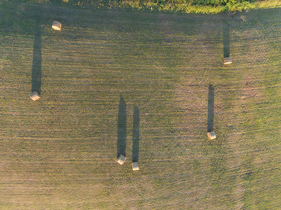 Scenic view of a country farm field from above of Albemarle County, Va.  Photo/Andrew Shurtleff