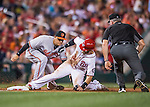 25 August 2016: Washington Nationals outfielder Bryce Harper slides safely into 3rd on a tag up play in the 8th inning against the Baltimore Orioles at Nationals Park in Washington, DC. The Nationals blanked the Orioles 4-0 to salvage one game of their 4-game home and away series. Mandatory Credit: Ed Wolfstein Photo *** RAW (NEF) Image File Available ***