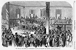 A wounded John Brown lays on a cot a center. in Court. The trial of John Brown and co-conspirators at Charles Town (or Charlestown), Virginia (now West Virginia) Pre Civil War Virginia. Harper's Weekly November 12, 1859 Illustrations by Porte Crayon (David Hunter Strother) The effects of John Brown's Invasion of the South to spark a slave rebellion by seizing the arsenal at Harper's Ferry, Virginia (present day West Virginia ), just before the start of the Civil War. Cover of Harper's Weekly November 12, 1859 Illustrations by Porte Crayon (David Hunter Strother)
