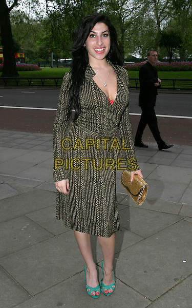 AMY WINEHOUSE.Sony Radio Academy Awards.full length, full-length, cleavage, plunging neckline, tweed coat, jacket, green sandals.www.capitalpictures.com.sales@capitalpictures.com.© Capital Pictures.