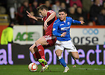 Aberdeen v St Johnstone...01.01.15   SPFL<br /> Ashton Taylor holds off Michael O'Halloran<br /> Picture by Graeme Hart.<br /> Copyright Perthshire Picture Agency<br /> Tel: 01738 623350  Mobile: 07990 594431