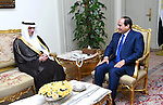 Egyptian President Abdel-Fattah el-Sissi meets with the new Saudi Foreign Minister Adel al-Jubair, in Cairo on May 31, 2015. Photo by Egyptian Presidency