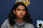 13 December 2008: A.J. Delagarza (20) of Maryland.  The University of Maryland Terrapins held a press conference at Pizza Hut Park in Frisco, TX one day before playing in the NCAA Divison 1 Men's College Cup championship game.