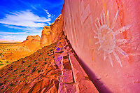 Ancient sun pictograph      Northern Arizona     Basketmaker culture rock paintings