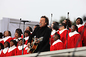 "Washington, DC - January 18, 2009 -- Bruce Springsteen performs at the ""We Are One""  The Obama Inaugural Celebration at the Lincoln Memorial on Sinday, January 18, 2009.  .Credit: Dennis Brack - Pool via CNP"