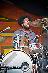 ?uestlove of the Roots performing with John Legand at the New Orleans Jazz and Heritage Festival in New Orleans, Louisiana, May 1, 2011.