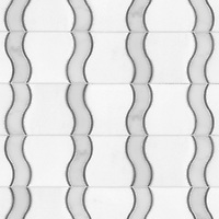 Danube, a waterjet stone mosaic, shown  in Calacatta Tia, Bardiglio and honed Thassos, is part of the Silk Road Collection by Sara Baldwin for New Ravenna Mosaics. <br />