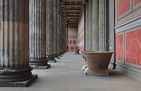 Colonnade outside the Altes Museum or Old Museum, housing the Antique collection of the Berlin State Museums, Museum Island, Mitte, Berlin, Germany. The museum was built 1823-30 by Karl Friedrich Schinkel in neoclassical style to house the Prussian royal family's art collection. The buildings on Museum Island were listed as a UNESCO World Heritage Site in 1999. Picture by Manuel Cohen