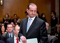 R. Alexander Acosta, Dean of Florida International University College of Law and United States President Donald J. Trump's nominee for US Secretary of Labor, arrives for his confirmation hearing before the US Senate Committee on Health, Education, Labor &amp; Pensions on Capitol Hill in Washington, DC on Wednesday, March 22, 2017.<br /> Credit: Ron Sachs / CNP /MediaPunch
