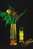 Three Roses - Yellow and Red - in Glass Vase against Black Background