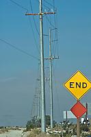 Wind, Turbine, San Gorgonio Pass, Coachella Valley, End Of the Road Sign, turbines, California, Palm Springs, Green, Energy, field, farm North Palm Springs, CA,