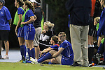 13 October 2011: Duke's Kelly Cobb (seated, center) sits out the game with an ankle injury. The University of North Carolina Tar Heels defeated the Duke University Blue Devils 1-0 at Fetzer Field in Chapel Hill, North Carolina in an NCAA Division I Women's Soccer game.