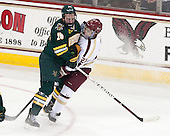 Caylen Walls (UVM - 26), Quinn Smith (BC - 27) - The Boston College Eagles defeated the University of Vermont Catamounts 4-1 on Friday, February 1, 2013, at Kelley Rink in Conte Forum in Chestnut Hill, Massachusetts.