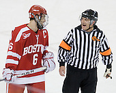 Joe Pereira (BU - 6) talks to John Gravallese at the end of the first period. - The Boston College Eagles defeated the visiting Boston University Terriers 5-2 on Saturday, December 4, 2010, at Conte Forum in Chestnut Hill, Massachusetts.
