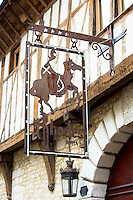 Traditional medieval timber-frame architecture at Maison Rhodes Hotel inTroyes in the Champagne-Ardenne region of France