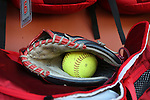 19 February 2017: Ohio State glove and softball. The Ohio State University Buckeyes played the University of Louisville Cardinals at Anderson Family Softball Stadium in Chapel Hill, North Carolina as part of the ACC/Big 10 College Softball Challenge. OSU won the game 4-3.