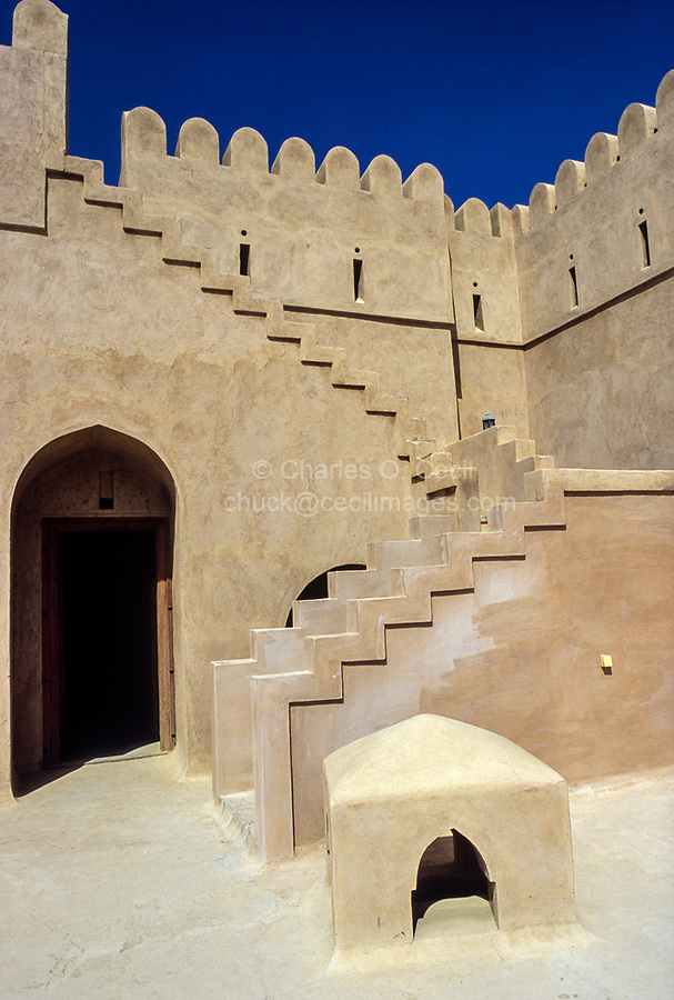 Hazm, Oman.  Stairs to the Parapet, Interior Courtyard.