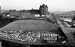Pittsburgh PA:  View of Duquesne University, future crosstown parkway, Liberty Bridge entrance and Boulevard of the Allies from a building rooftop.