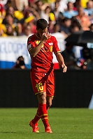 Eden Hazard of Belgium looks dejected