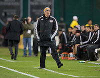 Houston Dynamo head coach Dominic Kinnear yells to his team during the game at RFK Stadium in Washington,DC. D.C. United tied the Houston Dynamo, 1-1.  With the tie, Houston won the Eastern Conference and advanced to the MLS Cup.