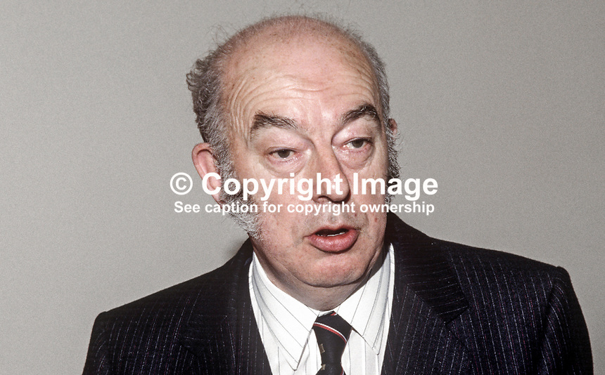 Dr Rhodes Boyson, MP, Conservative Party, UK, junior minister, N Ireland Office, 19840117RB2..Copyright Image from Victor Patterson, 54 Dorchester Park, Belfast, UK, BT9 6RJ..Tel: +44 28 9066 1296.Mob: +44 7802 353836.Voicemail +44 20 8816 7153.Skype: victorpattersonbelfast.Email: victorpatterson@me.com.Email: victorpatterson@ireland.com (back-up)..IMPORTANT: If you wish to use this image or any other of my images please go to www.victorpatterson.com and click on the Terms & Conditions. Then contact me by email or phone with the reference number(s) of the image(s) concerned.