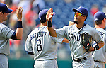 29 May 2011: The San Diego Padres celebrate a win against the Washington Nationals at Nationals Park in Washington, District of Columbia. The Padres defeated the Nationals 5-4 to take the rubber match of their 3-game series. Mandatory Credit: Ed Wolfstein Photo