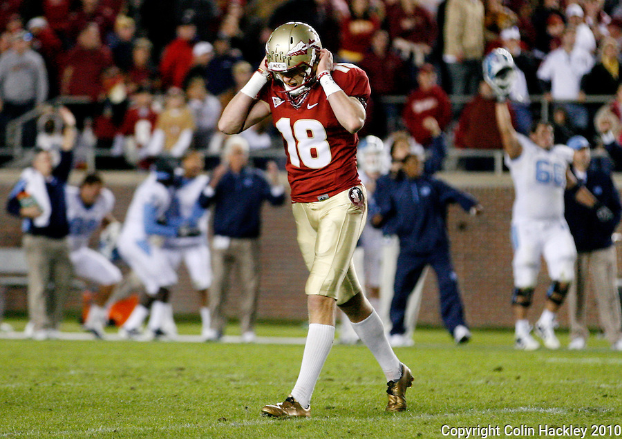 TALLAHASSEE, FL 11/6/10-FSU-NC FB10 CH-Florida State kicker Dustin Hopkins reacts after his last second field goal to win the game against North Carolina sailed wide right Saturday at Doak Campbell Stadium in Tallahassee. The Seminoles lost to the Tarheels 37-35..COLIN HACKLEY PHOTO