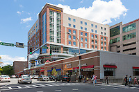 A view down Main Street towards the Cambria Suites mixed-use development in downtown White Plains, New York.