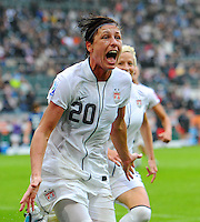 Abby Wambach of team USA celebrates during the FIFA Women's World Cup at the FIFA Stadium in Moenchengladbach, Germany on July 13th, 2011.