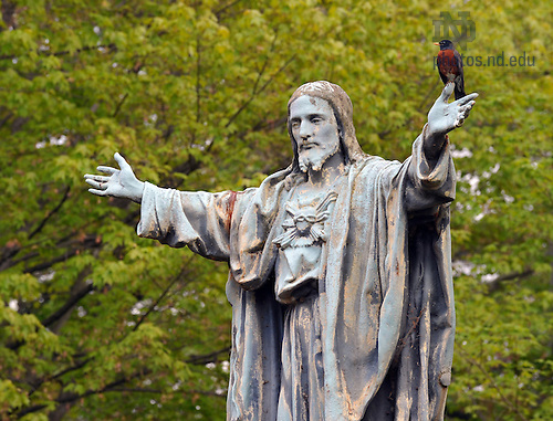 Jesus statue on main quad, May 2010...Photo by Matt Cashore/University of Notre Dame
