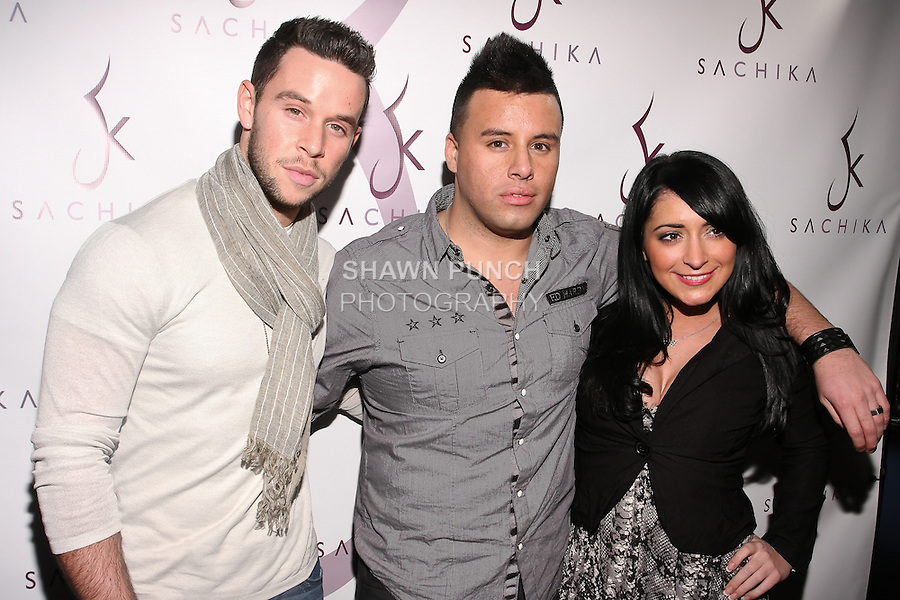 Actor, Jordan Yale Levine; media personality, Johnny Donovan, and Angelina from MTV Jersery Shore attend at the Sachika Twins - To-Tam Ton-Nu, and To-Nya Ton-Nu - Birthday party, at Juliet Supper Club NYC, December 13 2010.
