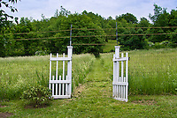 Garden gate electric fence fencing into meadow field farm deer deterent