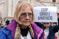 "ROME, ITALY - FEBRUARY 28: Ann Wright, a former US Army colonel and ex-career diplomat during the event ""Gaza: We break the siege""  in front of City Hall in Capitoline Hill. The event organized by the Italian BDS movement (Boycott, Divestment and Sanctions) to show the condition of the people of Gaza, Palestine living under siege for 10 years, you had to keep inside the Capitol but for protests the Israeli embassy and a part of the Italian and Roman Jewish Community, has been denied access  the Capitol and the organizers have held the meeting in the square in the Capitoline Hill on February 24, 2017 in Rome, Italy."