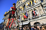 Daniel Oss (ITA) BMC Racing Team on stage at sign on before the 101st edition of the Tour of Flanders 2017 running 261km from Antwerp to Oudenaarde, Flanders, Belgium. 26th March 2017.<br /> Picture: Eoin Clarke | Cyclefile<br /> <br /> <br /> All photos usage must carry mandatory copyright credit (&copy; Cyclefile | Eoin Clarke)