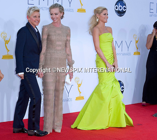 "ELLEN DEGENERES, PORTIA DI ROSSI AND JULIE BOWEN - 64TH PRIME TIME EMMY AWARDS.Nokia Theatre Live, Los Angelees_23/09/2012.Mandatory Credit Photo: ©Dias/NEWSPIX INTERNATIONAL..**ALL FEES PAYABLE TO: ""NEWSPIX INTERNATIONAL""**..IMMEDIATE CONFIRMATION OF USAGE REQUIRED:.Newspix International, 31 Chinnery Hill, Bishop's Stortford, ENGLAND CM23 3PS.Tel:+441279 324672  ; Fax: +441279656877.Mobile:  07775681153.e-mail: info@newspixinternational.co.uk"