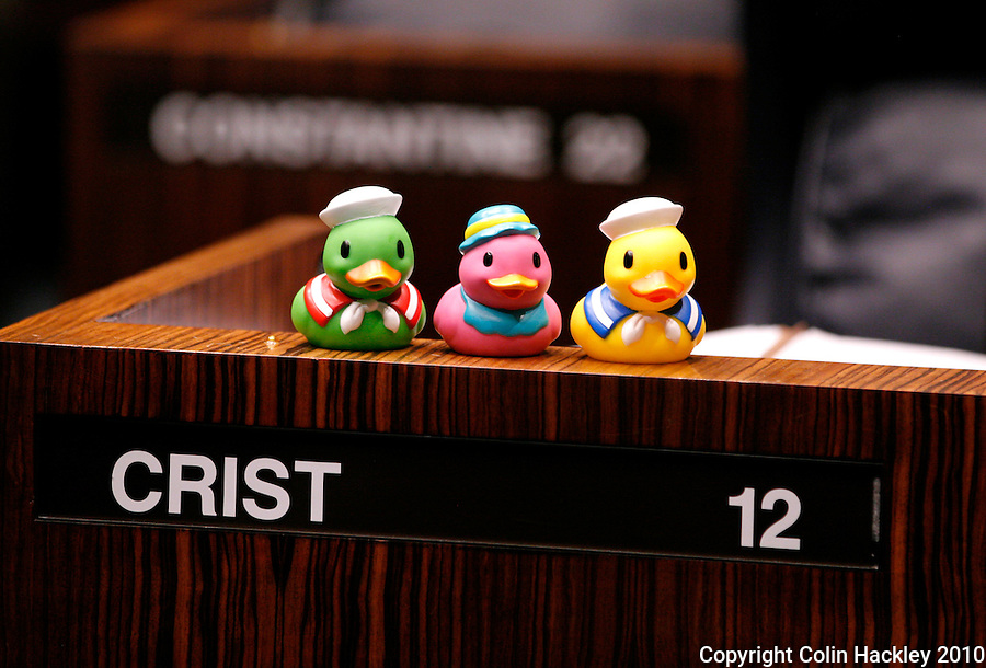 TALLAHASSEE, FLA. 4/30/10-SESSIONEND 43010 CH04-Sen. Victor Crist, R-Tampa, has his ducks in a row for the final scheduled day of the legislative session Friday at the Capitol in Tallahassee...COLIN HACKLEY PHOTO