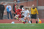 Oxford High's Frieda Salau(12) and Ali McGee (10) vs. Lafayette High's Alley Houghton (3) in girls high school soccer in Oxford, Miss. on Saturday, December 8, 2012. Oxford won 1-0.