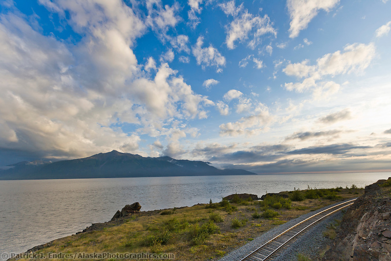 Railroad tracks along the Turnagain arm, southcentral, Alaska.