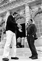 A seven foot tall Richard Kiel towers over Ken Heyman at six feet and one inch.