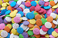 Hundreds and thousands bright colourful sweets in shop in the Nine Street district of Jordaan, Amsterdam
