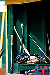 19 June 2008: Vermont Lake Monsters baseball gear lies in the dugout prior to a game against the Oneonta Tigers at historic Centennial Field in Burlington, Vermont. The Tigers defeated the Lake Monsters 13-8 in the rubber match of their three-game season opening series in Vermont...Mandatory Credit: Ed Wolfstein Photo