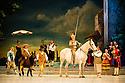 London, UK. 30.03.2013. The Mikhailovsky Ballet present DON QUIXOTE at the London Coliseum. Picture shows: Alexey Kuznetsov (Sancho Panza) and Marat Sheiunov (Don Quixote). © Jane Hobson.