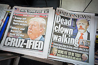 Headlines of the New York tabloid newspapers on Tuesday, February 2, 2016 report on Republican presidential candidate Donald Trump losing to Ted Cruz in the Iowa caucuses.  (© Richard B. Levine)