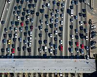 aerial photograph of traffic approaching toll plaza San Francisco Oakland Bay Bridge