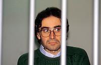 Roma 1987<br /> Aula bunker del Foro Italico<br /> Processo Moro-Ter alle Brigate Rosse. Prospero Gallinari