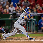 13 October 2016: Los Angeles Dodgers outfielder Josh Reddick in action during the NLDS Game 5 against the Washington Nationals at Nationals Park in Washington, DC. The Dodgers edged out the Nationals 4-3, to take Game 5, and the Series, 3 games to 2, moving on to the National League Championship against the Chicago Cubs. Mandatory Credit: Ed Wolfstein Photo *** RAW (NEF) Image File Available ***