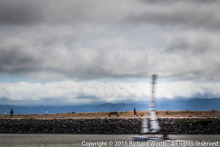 Powered by wind and gliding along the water, a catamaran slides past San Leandro Marina trail - a blur under burgeoning clouds.