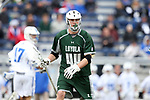 DURHAM, NC - MARCH 11: Loyola's Jared Mintzlaff. The Duke University Blue Devils hosted the Loyola University Maryland Greyhounds on March 11, 2017, at Koskinen Stadium in Durham, NC in a Division I College Men's Lacrosse match. Duke won the game 15-7.