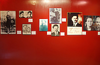 """Coyoacan, Mexico City - One of the museum exhibition rooms in the Leon Trotsky House Museum, a venue honoring Leon Trotsky's life.  The venue displays memorabilia such as photographs, newspapers and Trotsky personal effects.  The site also houses an organization that works to promote political asylum.  The museum is a favorite destination of millions of tourists every year, and it is located in the Coyoacan borough of Mexico City.  The museum was built next to the house in which Trotsky lived with his second wife Natalia Sedova from 1939 to 1940, and where the Russian dissident was also murdered and buried.  The house has been preserved as it was at that time where Trotsky lived there, in particular the study in which Joseph Stalin' supporter Ramon Mercader killed Trotsky with an ice axe to the back of the head.  Around the house is a garden and high walls with watchtowers.  The complex was turned into the current museum and asylum institution in 1990, on the 50th anniversary of the assassination.  Coyoacan's name comes from Nahuatl it likely meaning """"place of coyotes"""".  Hernán Cortes and the Spanish conquistadors used this area as a headquarters during the Spanish conquest of the Aztec Empire. They also made it the first capital of New Spain between 1521 and 1523.  In recent times, has been a counterculture hotbed and where Frida Kahlo and Diego Rivera lived, a few blocks away from Leon Trotsky.  Due the historic and cultural relevance, their homes are now the Frida Kahlo Museum and the Leon Trotsky Museum, which are visited by thousands of tourists every year.  Modern-day Coyoacan is a quiet residential area with cobblestone streets, restaurants, parks, squares, and a favorite hangout for bohemia enthusiasts. Photo by Eduardo Barraza © Copyright"""