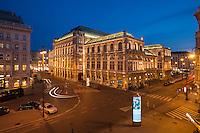 Opera house building at night, Vienna, Austria